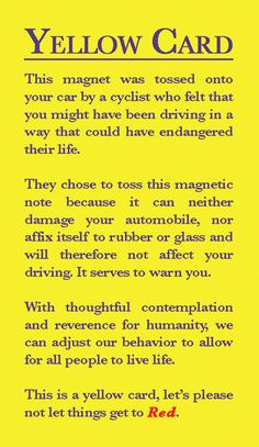 Magnetic Yellow Cards for Cyclists to Warn Dangerous Drivers : TreeHugger