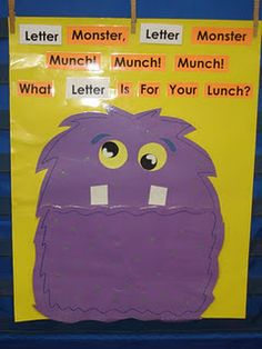 "Molly is a shape/letter/number/word, etc. monster who is ALWAYS hungry!  Her mouth is a huge ""pocket"" that is attached with Velcro for easy emptying.  The words ""letter""are interchangeable.  She's made from poster board and construction paper, and laminated for durability because she's so loved by the children!  She makes a great whole group, small group, or center activity to reinforce skills."