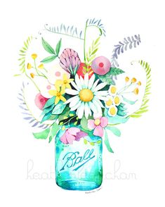 Mason Jar and Flowers Painting - Watercolor by Heatherlee Chan | Lady Poppins