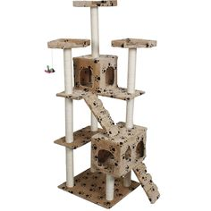Cat tree with grey scratching post