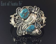 Turquoise Native American Cuff Bracelet Navajo Sterling Signed by EastofSantaFe on Etsy
