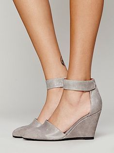 Peaks Point Wedge | Leather nubuck pointy toe wedge with easy adjustable Velcro ankle straps. Handmade.  *By Jeffrey Campbell