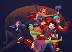 Avengers GO! by *Ceshira on deviantART Raven:Purple Beast boy: The animal changer?? Cyborg: iron teen Robin :?????? Starfire:?????