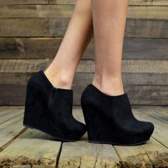 City Chic Black Suede Wedge Booties