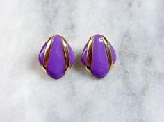 Art Deco earrings. Purple enamel on a gold tone by SellTheOld