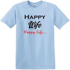 1966f179 Happy WIFE Happy Life T-Shirt, Unisex, Groom Tee, Anniversary Gift by