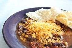 """<p>This simple dish is versatile. Serve it with chips or drain and serve over taco salad. Get the recipe <a href=""""http://www.passionforsavings.com/easy-crockpot-taco-soup-recipe/"""" target=""""_blank""""><strong>HERE</strong></a>.</p>"""