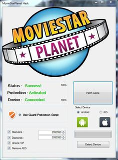 MovieStarPlanet Hack Tool (Android/iOS)   MovieStarPlanet Hack Tool(Android/iOS)  We want to present you an amazing tool calledMovieStarPlanet Hack Tool.With ourMovieStarPlanet Traineryou canget unlimited StarCoins and Diamonds Unlock VIP Remove ADS.Our soft works on allAndroidand iOS devices. It does not require any jailbreak or root. OurMovieStarPlanetCheatis very easy to use. Just Connect your device select the device check the options you want to add click on the buttonPatch Game!and…