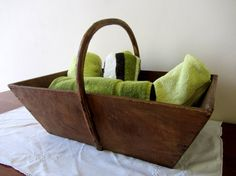 Large Vintage French Wooden Trug/Basket Home by PoitouBrocante, $99.00