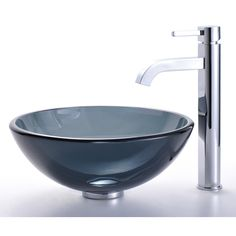 Found it at Wayfair - Clear Black Glass Vessel Sink and Ramus Faucet