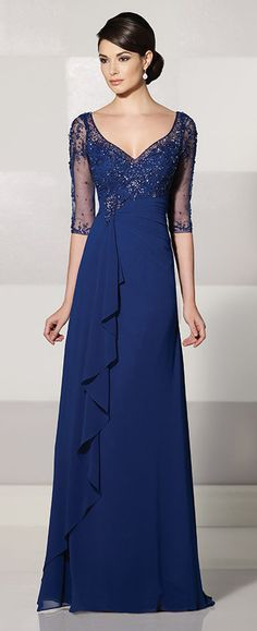 Wholesale Navy Blue Chiffon Long Sheath Evening Dresses With Sleeves Illusion Elegant Formal Mother Of The Bride Dress Mother Of Groom Dresses, Mothers Dresses, Mother Of The Bride, Chiffon Evening Dresses, Chiffon Dress, Evening Gowns, Evening Party, Chiffon Ruffle, Mob Dresses