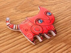 Cat brooch FREE SHIPPING ethnic cat pin Animal by Lanaworkshop