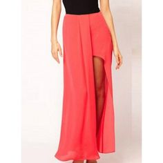Stylish Side Slit Solid Color Chiffon Skirt For Women