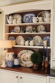 The Art Of Accessorizing A China Cabinet China Cabinet . Tips On How To Arrange A China Cabinet China Cabinet . House Tour: Dining Room Driven By Decor. Home and Family China Cabinet Display, Cabinet Decor, Cabinet Top Decorating, Dish Display, Blue Dishes, White Dishes, White Kitchen Decor, White Decor, China Hutch Decor