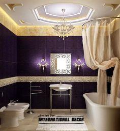 tuscan ceilings images | luxury Italian bathroom, false ceiling design LED lights, purple tiles ...