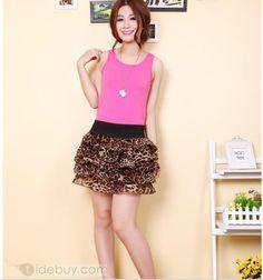 2012年新しい到着韓国スタイルヒョウシフォン糸スカート