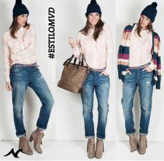 #EstiloMvd ¡Un toque escocés! Jean y Camisa Levis, Cinturón de Parisien, Bolso y botas de Lolita y Saco de Uniform.