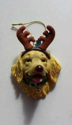 Great Yellow Lab Labrador Retriever Christmas ornament. Flashing Red LED Dog Nose Christmas Ornament. Made from polyresin. Battery Included.