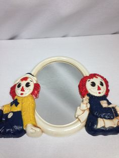 Raggedy Ann and Raggedy Andy Mirror Vintage Raggedy by OfYearsPast