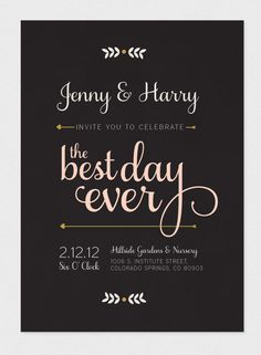 Printable Wedding Invitation - Best Day Ever