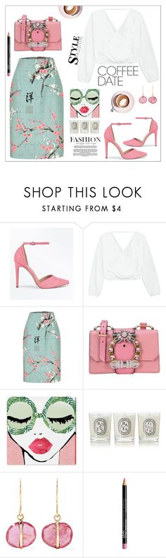 """Coffee Date"" by ctofan ❤ liked on Polyvore featuring New Look, Miu Miu, Oliver Gal Artist Co., Diptyque, Melissa Joy Manning, NYX and CoffeeDate"