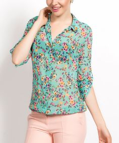 Love this Mint & Pink Sheer Floral Button-Up by Ironi Collection on #zulily! #zulilyfinds