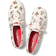Keds Champion Floral (94 SAR) ❤ liked on Polyvore featuring shoes, sneakers, keds, sapatos, flats, floral white, flat shoes, keds shoes, floral print flats and floral sneakers