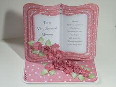 (Ref:D8) Easel card 18.5cm x 15cm. Clipart Fairy bookeasel download that can be used for lots of occasions. Flowers made using various punches and dies. Card Book, Easel Cards, Open Book, Card Designs, Folded Cards, Cardmaking, Punch, Card Ideas, Greeting Cards
