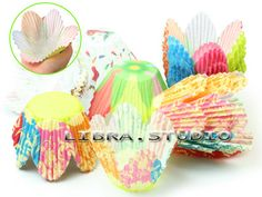 Paper Cupcake Liners Flower Petal Cup Muffin Cake Cases For Wedding Party 75 pcs £1.96