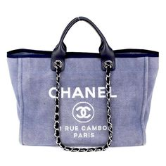 fc0ed0a36a14 Chanel GM Deauville Canvas and leather top handle tote excellent condition  with dustbag measures 15 x