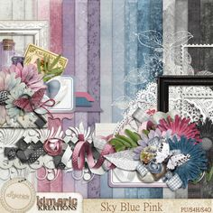 """<p> Named for one of my favorite """"colors"""" Sky Blue Pink celebrates those gorgeous sunsets, when the sky turns such awesome shades of blue and pink. My Grandpa Harry always called it Sky Blue Pink, and I've called it that for more than 50 years now! The pagekit is packed with 11 shabby solid papers,..."""