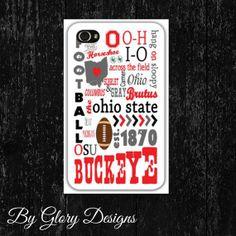 iPhone Case 4 and 4s, custom Ohio State Buckeyes, Typography on Etsy, $30.00