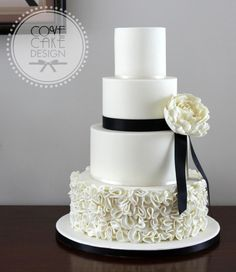 Wedding cake with ruffles and peony; inspired by a Vera Wang dress