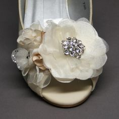 Such a cool idea: you can design your own shoes! Any shape, size, color, embellishment-- Wedding Shoes  Ivory Wedding Wedge with by DesignYourPedestal, $199.50