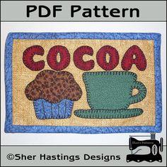 PDF Pattern for Hot Cocoa Mug Rug, Hot Cocoa Mug Rug Pattern, Hot Cocoa Candle Mat Pattern, Cocoa Mini Quilt Pattern - Tutorial, DIY via Etsy