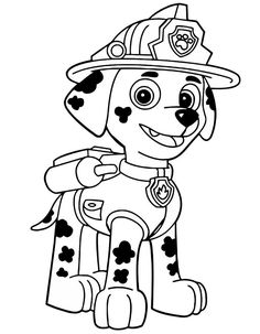 Paw Patrol Coloring Pages For Kids Puppy Marshall Page
