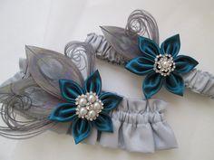 Teal Wedding Garter Set Dark Jade Garters by GibsonGirlGarters