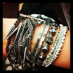 Arm party #bracelets #spikes #bling