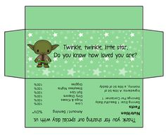 Star Wars Baby Shower Candy Bar Wrappers - Green - Hershey Bar 1.55 Oz