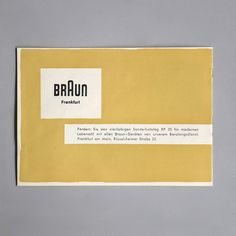 Braun special DL 3 brochure Braun special DL 3 Otl Aicher 1955