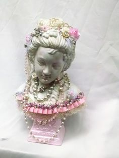 shabby n chic bust Marie Antoinette altered by BlueSilverVintage