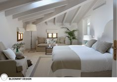 Hotel cal reiet – the main house mediterrane schlafzimmer von bloomint design mediterran Loft Room, Bedroom Loft, Home Bedroom, Bedroom Decor, Bedroom Ideas, Master Bedroom, Mirror Bedroom, Bedroom Photos, Attic Bedroom Designs