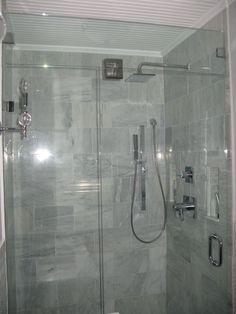 Bathroom: Bathroom With The Idea Of The Small Size Of The Door Glass Rainfall  Shower Head Natural Stone Wall Minimalist, Head Body Spray Rain Shower, ...