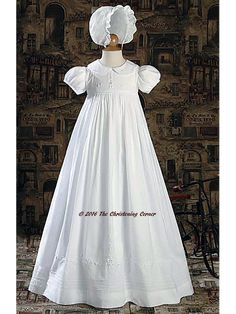 Hand Embroidered Girls Christening Gown