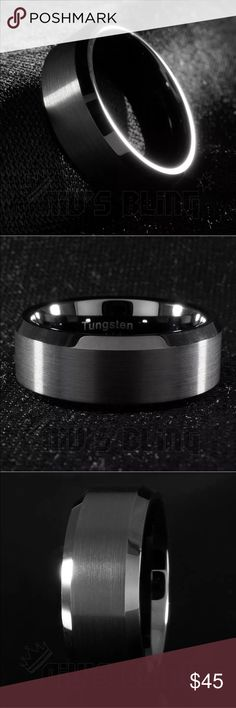 * * Flash Sale 9/13/16!! Black Tungsten Ring Brand new tungsten ring. 100% tungsten so there is no tarnishing or discoloration. Comfort fit so no irritation. I have sizes 6-13 with all half sizes available. Comment which size you'd like and that's what I'll send! Thank you. great for wedding bands or everyday use Jewelry Rings