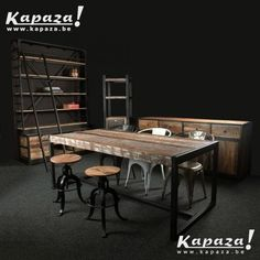 Tafel industrieel 240cm nu 499 Giga meubel brussels-gewest