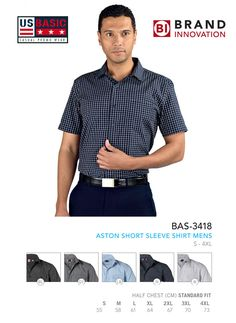 US Basic Workwear Aston Short Sleeve Mens Shirt