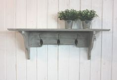 GREY WASH WOODEN WALL SHELF WITH 3 METAL HOOKS, FRENCH VINTAGE CHIC COAT RACK | eBay