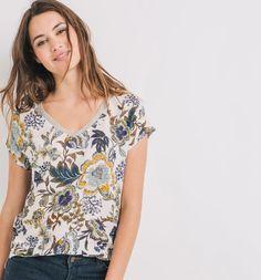 T-shirt damski nadruk ecru - Promod