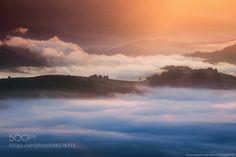 Ukraine. Carpathians. Morning light in the valley village Dzembr